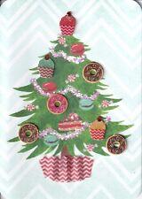 PAPYRUS CHRISTMAS CARD NIP MSRP $6.95 CUPCAKE/DONUT TREE CARD (I*1)