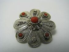 STERLING SILVER BROOCH PIN CORAL STONES FILIGREE Middle East Palestine ca1920s