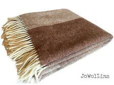 """100% Merinowolle Wolldecke Plaid Kuscheldecke """"Ajus"""" 150x180 cm Braun/beige"""