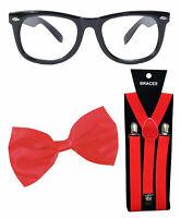 Hat Glasses Gold Bowtie Braces Sequin Sparkle Geek Fancy Dress Kit