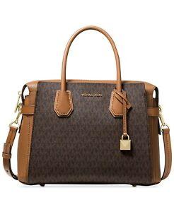 Michael Kors Mercer Belted Signature Satchel Bag NWT $358 Brown MK Logo