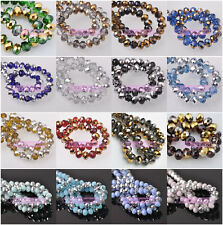 6mm Half Plated Exquisite Rondelle Faceted Crystal Glass Loose Spacer Beads Lot