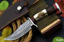Custom Damascus Steel Hunting Knife Handmade, Stag Horn & Walnut Handle (Z436)