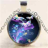 Fluorescent Butterfly Cabochon Glass Tibet Silver Chain Pendant Necklace