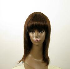 Perruque afro femme 100% cheveux naturel mi long châtain ref KOKO 01/6