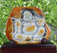 Cert'd Red 100% Natural A Jade jadeite Statue Sculpture Maitreya 弥勒佛 2567tW