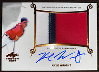 2017 Leaf Trinity Kyle Wright 3 Color Patch On Card Auto RC Atlanta Braves!