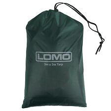 Lomo 3M X 3M Tarp - Dark Green Bushcraft Shelter Canopy with 4 Pegs and 2 Lines
