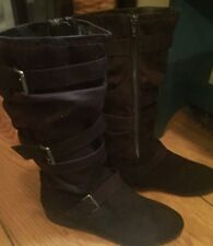 Bongo Amalia Brown Faux Suede Tall Slouch Boot Buckle Accents Size 8M