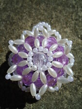 Christmas Homemade Lavender Faceted & Pearl Oat Bead Small Circular Ornament