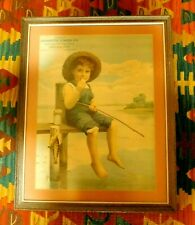 Vtg. 1930's FRAMED LITHOGRAPH ADVERTISING PRINT of BOY FISHING EBENREITER LUMBER