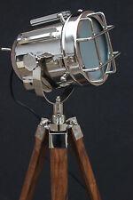 Handmade Nautical Spot Light Floor Lamp With Wooden Tripod Vintage Searchlight