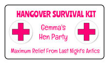 Personalised Novelty Hangover Survival Kit Stickers Hen Do Night Weekend Stag