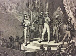 Serment de Louis Philippe 3 aout 1830 estampe Circa 1835 France