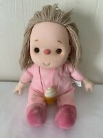 "RARE VINTAGE 1980 J. SHIN ICE CREAM DOLL W/ Cone 16"" Pink GIRL Blonde Yarn Hair"