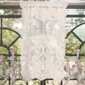 Scheibengardine Gardine Vorhang ecru creme Landhaus Shabby 45x 70 Leinen Mariclo