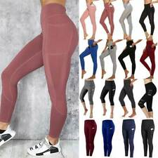 High Waisted with Pocket YunZyun Womens Athletic Yoga Pants High Elasticity for Workout Yoga Biker Training Running Gym Black, L