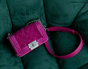 VERIFIED Authentic CHANEL Pink Quilted Velvet & Leather Mini Boy Flap Bag