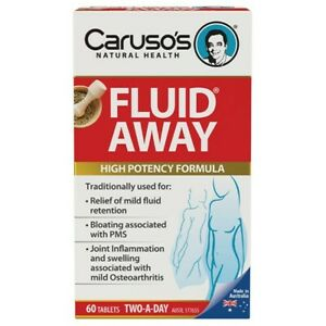 Caruso's Fluid Away 60 Tablets Anti-Inflammatory Fluid Retention Gout Carusos