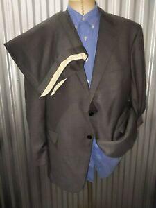 NWT Recent Hickey Freeman Gray Sharkskin 2pc Suit Wool Jacket 48R Pants 42 X 29
