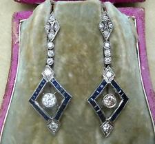 Impresionante Platino Art Deco 1.80ct Diamante y Zafiro cuelgan pendientes 2ct