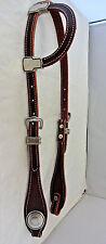 One Ear Headstall Horse Burgundy Latigo Leather Jeremiah Watt Smooth Conchos New