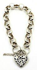 925 Sterling Silver Belcher Chain Bracelet with Heart Clasp Fine Jewellery