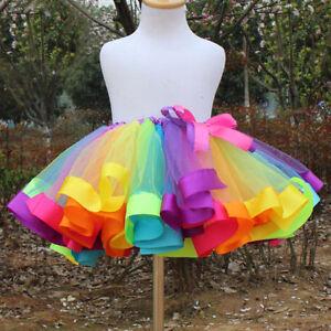 Kids Girls New Rainbow Tutu Skirt Tulle Fluffy Princess Dance Dress Party US