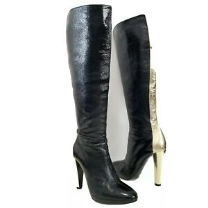 Pierre Hardy Women's Heel Knee High Boots Black Gold Patent Leather Size 39.5 40