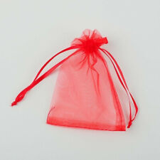 10pcs Drawstring Organza Bags Jewelry Pouches Wedding Party Gift Bag Red