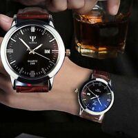 Man Sport Watch Leather Band Calendar Date Analog Quartz Waterproof Wrist Watch