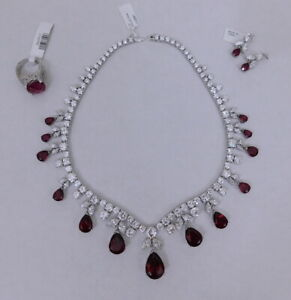 CHARLES WINSTON Collection Sterling Silver Diamonesque Sapphire Necklace - New