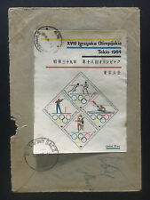 1966 Nowy Sacz Poland Registered Cover to indonesia Tokyo japan Olympics SS