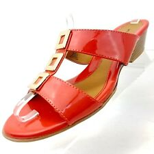 4c9c209095e2 Jaclyn Smith Wedge Slides Sandals Size 7 M Red   Orange Slip On Casual Shoes