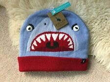 Joules Boys Chummy Hat Character Knitted Hat - Blue Shark 8-12 Years