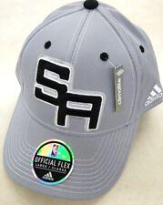 SAN ANTONIO SPURS NBA ADIDAS OFFICIAL ON COURT HAT CAP GRAY FLEX FIT S M 79180eaeaee0