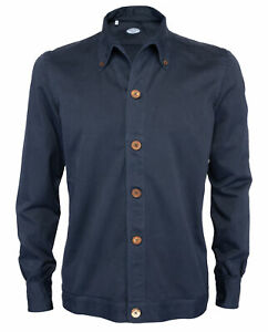 NWT VINCENZO DI RUGGIERO SHIRT JACKET overshirt Navy blue cotton luxury Italy M