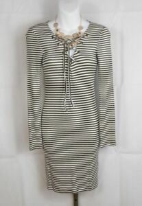 Olive Ivory Striped DRESS size L Large long sleeve low cut lace-up bust
