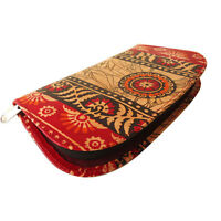 IndianShantiniketan Pure Leather Batik Clutch Bag Women's Wallet Handmade Purse