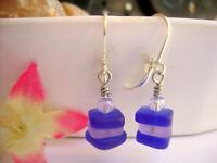 Stacked Cobalt Blue & Purple Sea Glass .925 STERLING SILVER Leverback Earrings