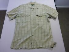 087 MENS EX-COND TIMBERLAND OLIVE CHECK S/S SHIRT MEDM $100 RRP.