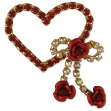 CRYSTAL GOLD PLATED RED HEART RIBBON BROOCH PIN MADE WITH SWAROVSKI ELEMENTS