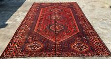 Authentic Hand Knotted Vintage Shrz Pictorial Wool Area Rug 10.5 x 6.9 Ft