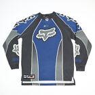Vintage Fox Racing FX Jersey Motocross MX Shirt Black Blue Silver Mens M