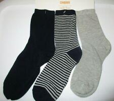 Gymboree Boys 3-Pack Socks Striped Deep Blue Gray Lot Size M NWT