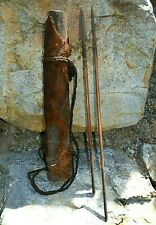 Antique Turkana Tribe Wood Hide Covered Quiver Metal Tipped Arrows Kenya, Africa