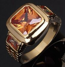 Gorgeous Size 11 Champagne Topaz 18K Gold Filled Luxury Wedding Ring For Men's