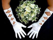 Blanc Med Long Femmes Fille Bow Gants Mariage Soirée Anniversaire Prom Party C8