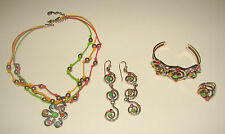 BARSE STERLING SILVER 925 CUFF BRACELET EARRINGS NECKLACE RING SET RARE FLORAL