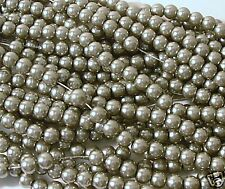 200 Lt Grey Glass Pearl 4mm Round Beads